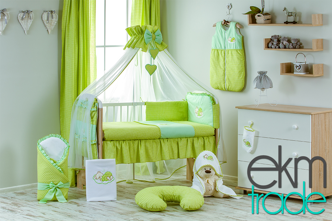 20 teilig baby bettset bettw sche gr n ekmtrade. Black Bedroom Furniture Sets. Home Design Ideas