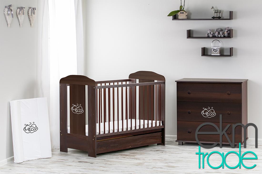 braun venge kinderbett 120 x 60 cm mit schublade ekmtrade. Black Bedroom Furniture Sets. Home Design Ideas
