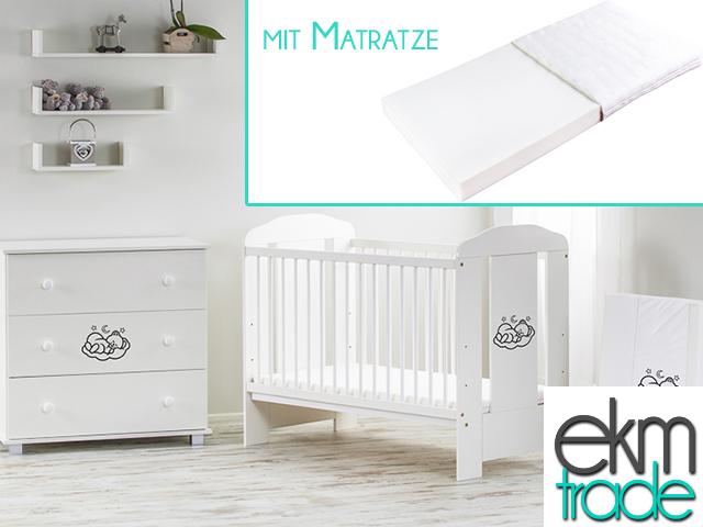 wei kinderbett 120 x 60 cm mit matratze ekmtrade. Black Bedroom Furniture Sets. Home Design Ideas