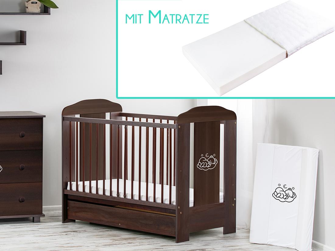 Babybett Kinderbett 120x60 Holz weiß venge beige Matratze SCHUBLADE ekmTRADE