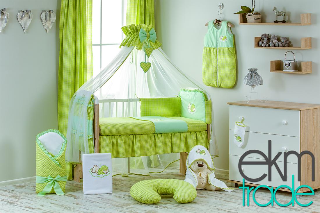 20 Teilig Baby Bettset Bettwäsche Grün Ekmtrade