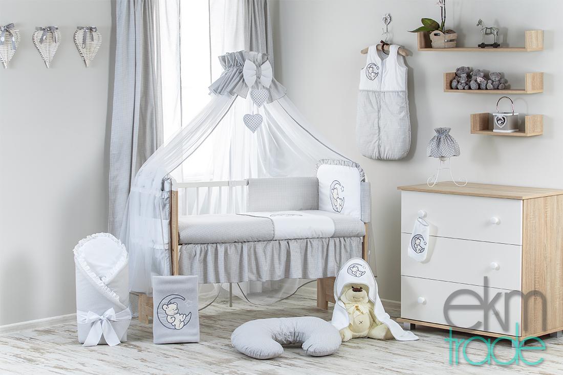 10 Teilig Baby Bettset Bettwäsche Grau Ekmtrade