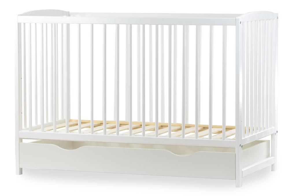 Babybett 2in1 Gitterbett Kinderbett 120x60 Weiß  Matratze Juniorbett Schublade