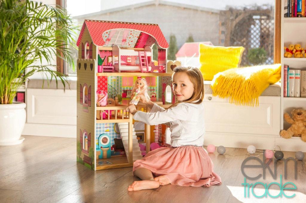 Öko Hölzerne Puppenhaus mit Zubehör 90cm mit Zubehör 17 Möbeln, 2 Puppen