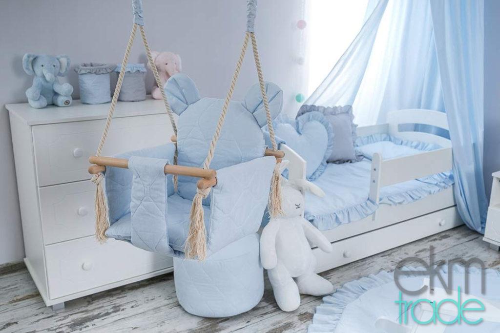 Babyschaukel Kinderschaukel Baumwolle und Buchenholz Oeko-Tex BLAU