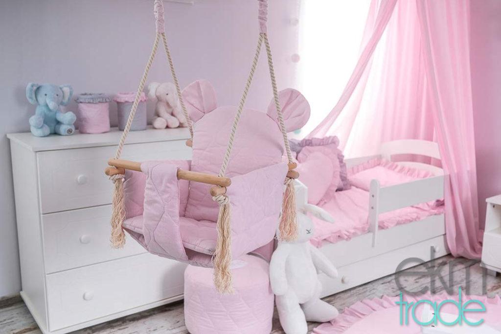 Babyschaukel Kinderschaukel Baumwolle und Buchenholz Oeko-Tex ROSA