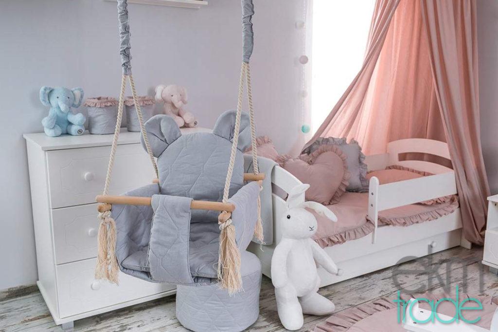Babyschaukel Kinderschaukel Baumwolle und Buchenholz Oeko-Tex GRAU
