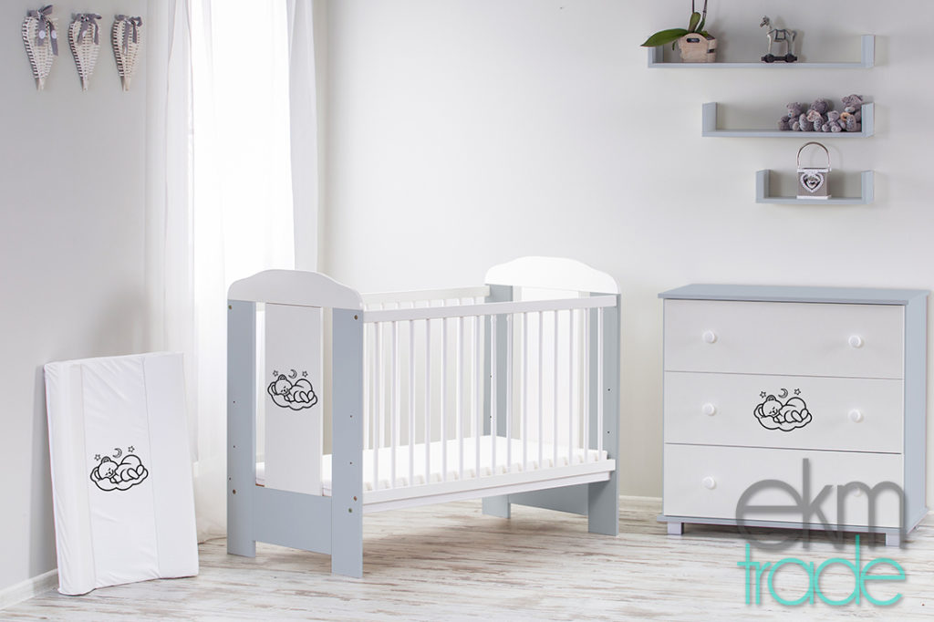 Grau Kinderbett 120 x 60 cm