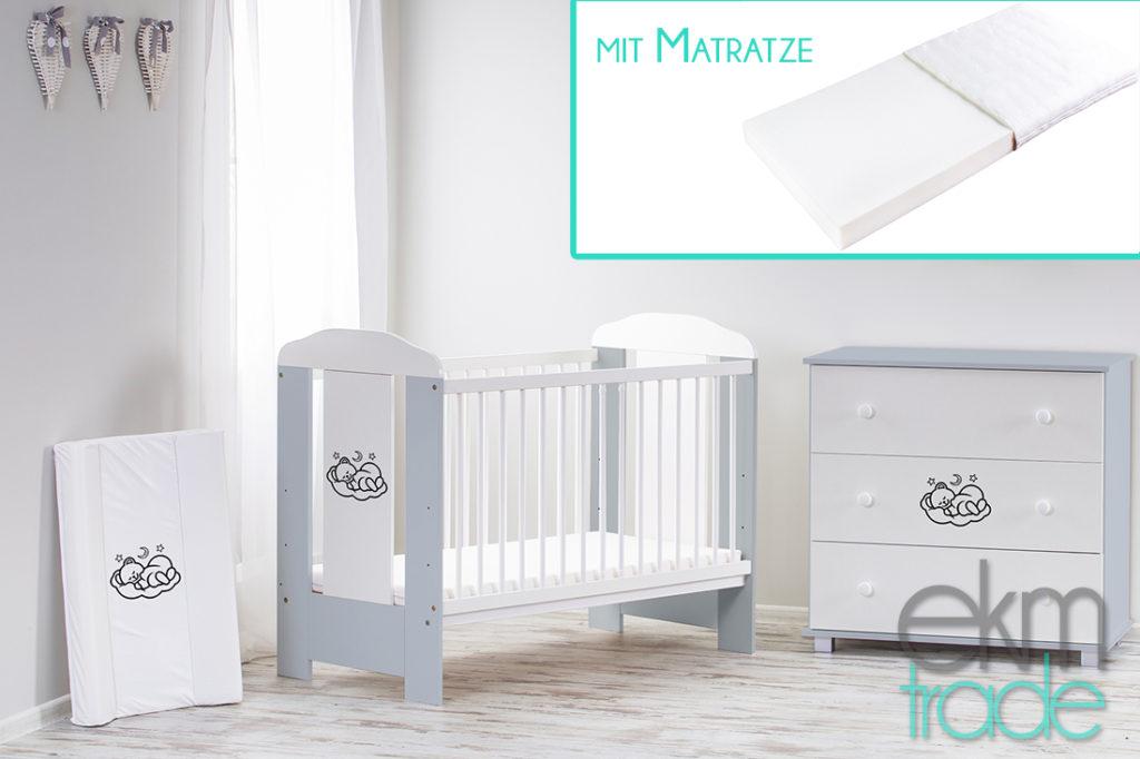 Grau Kinderbett 120 x 60 cm mit Matratze
