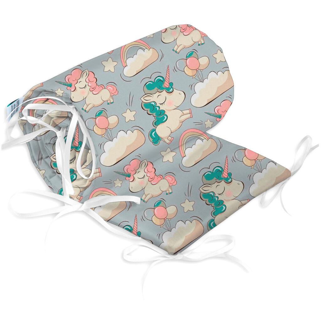 Bettumrandung Kopfschutz Nestchen für Babybett Handmade 100% Baumwolle 180cm – W37