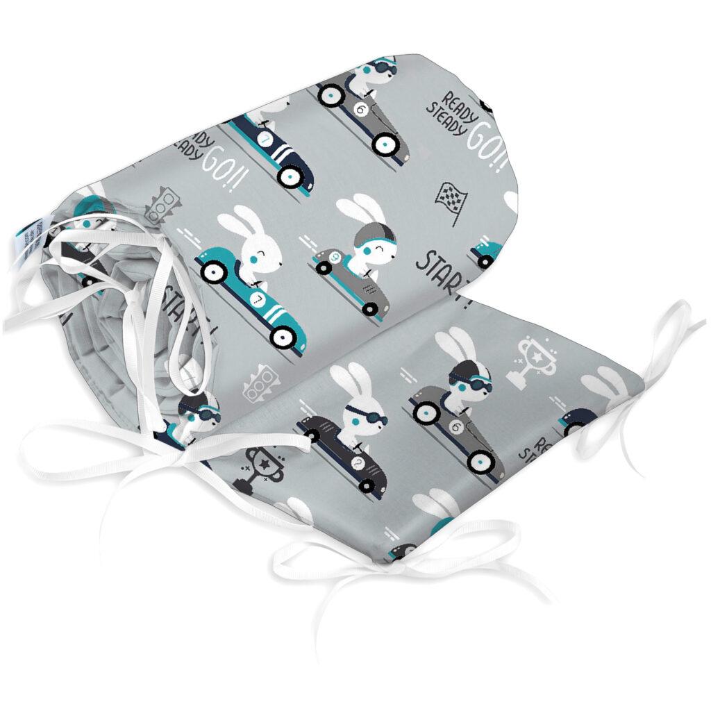 Bettumrandung Kopfschutz Nestchen für Babybett Handmade 100% Baumwolle 180cm – W44