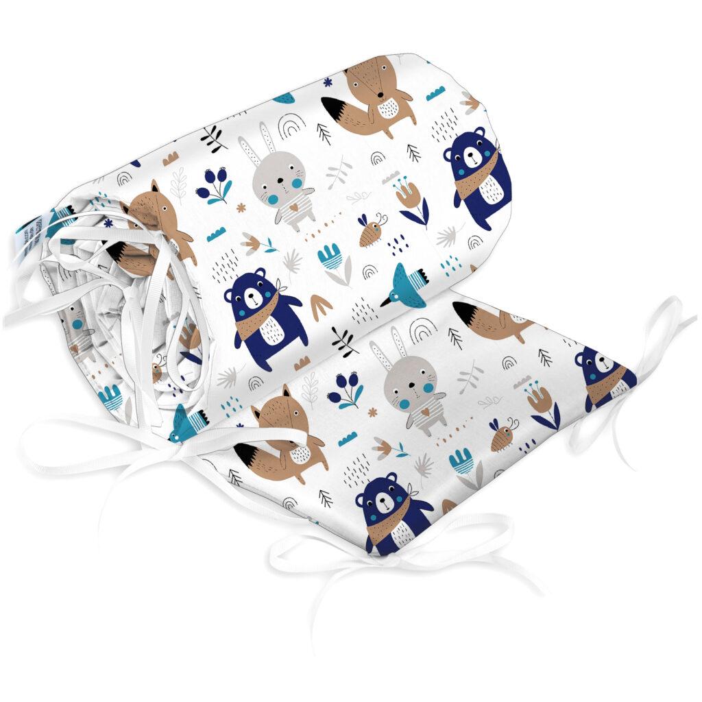 Bettumrandung Kopfschutz Nestchen für Babybett Handmade 100% Baumwolle 180cm – W47